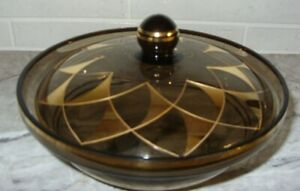 Gold Gilt Smoke Brown Glass Covered Candy Dish Bowl MCM West Germany w Label VG