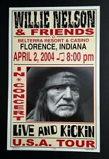 WILLIE NELSON 2004 CONCERT POSTER HATCH SHOW PRINT FLORENCE INDIANA rare 1 of 60