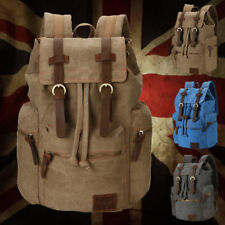 New Canvas Rucksack Sport Travel Camping Bag Satchel Laptop Hiking Backpack UK