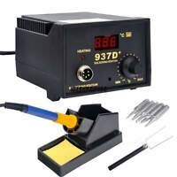 US Soldering Station Heater Iron Welding Solder SMD Tool 5 Tips Stand ESD 937D+