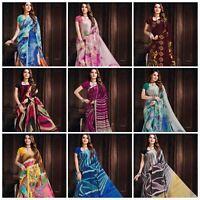 Satin Silk Sari Saree Digital print Designer Saree Blouse piece Indian Pakistani