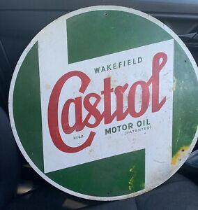 "LARGE WAKEFIELD CASTROL MOTOR OIL SIGN 17"" DIAMETER ORIGINAL COWLING SIGN ENAMEL"