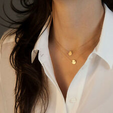 Gold Chain Choker Statement Bib Necklace Women's Jewelry Charm Pendant Simple