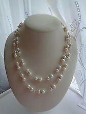 Perlenkette, mehrreihig, lang, mit Strass, Silber 925