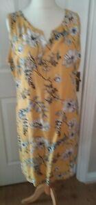 Linen Summer Dress size 16 Yellow Floral