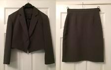 Vintage Ladies Jacket Skirt Suit Size 14 Grey Retro Dorothy Perkins 80s Mad Men
