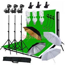 Photo Pro Studio Lighting Photography 3 Muslin Backdrop Light Stand Kit