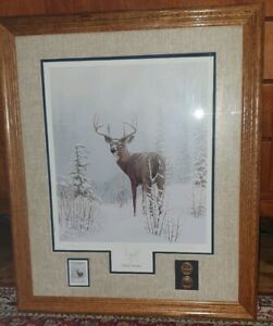 FRAMED COLLECTORS EDIT LEO STANS PRINT WINTER WONDER WITH STAMP & COIN  EC