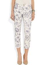 ISABEL MARANT Lucas Blanc Violet Paisley Print Crop Skinny Jeans 40 UK 12