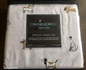 Cynthia Rowley Animal Grey Twin Xl Sheet Set 3 Pc - New.