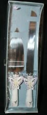 CAKE KNIFE CUTTER & SERVER SET W/BUTTERFLY 4 WEDDING ANNIVERSARY KNIFE ABOUT 12""