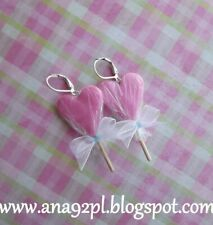Handmade clay jewelry fimo earrings long pink lollipop Christmas stocking bow