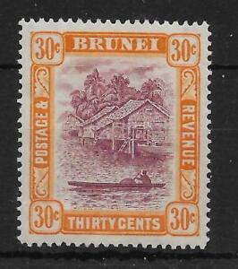 BRUNEI SG76 1931 30c PURPLE & YELLOW-ORANGE MTD MINT