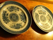 """New listing Pair of Antique Chinese Export Porcelain Blue Fitzhugh Plates 9-3/4"""" Dia."""