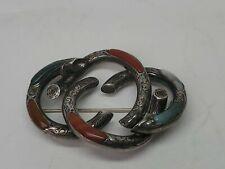 Vintage Sterling Silver Multi Sones Celtic Knot Brooch Pin Read