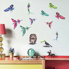 Set of 12 Pcs Birds Wall Stickers Removable Decal Nursery Girls Decor Kids Gift