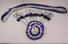 Set of Draft Horse Decorations - Purple, Silver Mane Roll, Tail Bow, Flowers