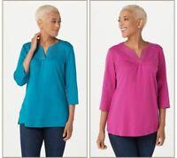 Quacker Factory Sparkle S/2 Ruched V-Neck T-shirts Grape/Hthr Grey XL A272881