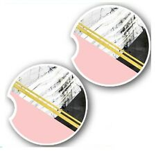 Pink and Marble Geo - Sandstone Auto Car Cup Holder Coaster Cute Gift Car Decor
