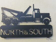 CUSTOM TOW TRUCK(YOUR NAME) MAILBOX TOPPER TEXTURED BLACK POWDER COAT FINISH