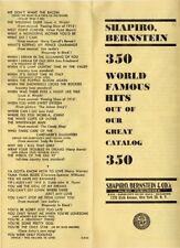 Vintage Shapiro Bernstein 350 World Famous Hits Catalog, 5-15-52