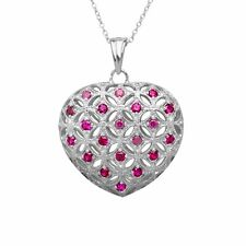 1 ct Created Ruby Caged Heart Pendant in Sterling Silver