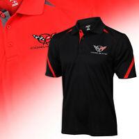 C5 Corvette Mens Polo Polo Custom Embroidered Logo Hashmark Sleeve Shirt 620048