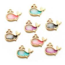 10Pcs DIY Gold Enamel Dolphin Alloy Charms Pendants Earrings Jewelry Findings