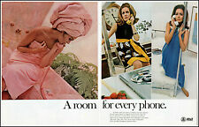 1968 (3) women pink towel bedroom AT&T Telephone vintage photo print Ad adL92