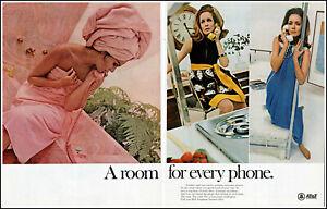 1968 (3) women pink towel bedroom AT&T Telephone vintage photo print Ad adL92