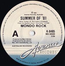 Mondo Rock ORIG OZ 45 Summer of '81 EX Avenue K8485 Daddy Cool Ross Wilson