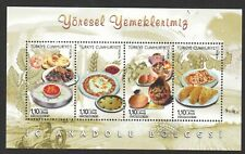 TURKEY 2013 LOCAL DISHES CENTRAL ANATOLIA REGION SOUVENIR SHEET OF 4 STAMPS MINT