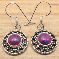PURPLE COPPER TURQUOISE Earrings ! Silver Plated NEW Jewelry LOW SHIPPING RATES