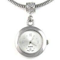 Silver White Silver Quartz Watch European Spacer Charm Bead For Bracelet EBA3