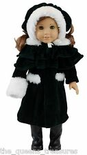 "18 "" Inch DOLL CLOTHES Fits AMERICAN GIRL 1914 Style Winter Coat Hat Cape Muff"