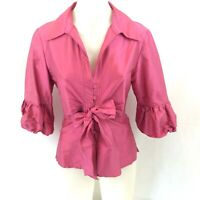 Anthea Crawford Size 8 SILK Taffeta Fuschia Pink Blouse Buttons & Bow 3/4 Sleeve