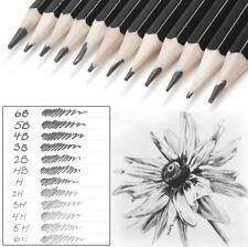 Set Of 12 GRADED ART SKETCHING PENCILS IN CASE 6B-6H Drawing/Shades/Light/Dark