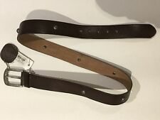 DIESEL MEN 100% LEATHER STUDS BELT COFFEE BROWN PREMIUM QUALITY NWT L $169 ITALY
