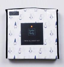 Cynthia Rowley Extra Long TWIN White Gnome Sheet Set Sheets & 1 Pillowcase / NEW