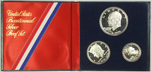 1976 US Mint Bicentennial 3 Piece 40% Silver Proof Set with COA in OGP
