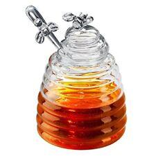 Honey Pot Set Glass Jar/Dispenser with Dipper Honey Container Wand Bee Lid 15 Oz