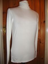 BNWT MAYSAA Ladies White Viscose Long Sleeved Polo Neck Top Size 16