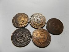 1864 (4) and 1869 (1) Two Cent Coins                                  (lot 82)