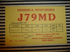 QSL CARD CARTE RADIO Dominica West Indies J79MD