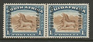 South Africa 1929-31 1/- Official Brown & deep blue SG O10 Mint.