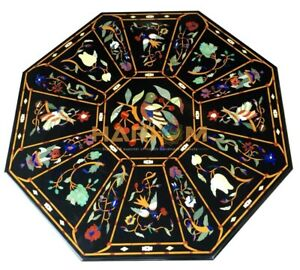 """36"""" Marble Black Dining Table Top Birds Floral Marquetry Inlay Hallway Art B216A"""