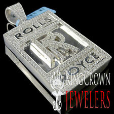 10K White Gold On Sterling Silver Lab Diamond Luxury Car Logo RR Pendant 2.65''