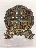 Vintage Brass Napkin / Mail Holder Painted Cross Jerusalem