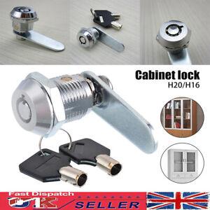 UK 16/20mm Cam Lock Door Barrel Drawer Cabinet Mail Box Locker Cupboard + 2 Keys