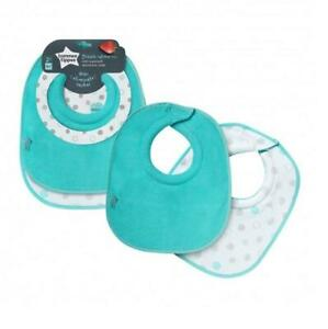 Tommee Tippee Dribble Catcher Bibs 4m+ Turquoise 2 Pack Reversible